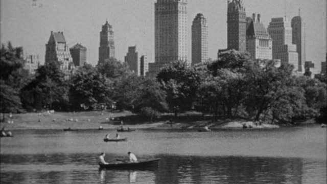 1940s B/W MONTAGE People relaxing in Central Park / New York City, New York, USA