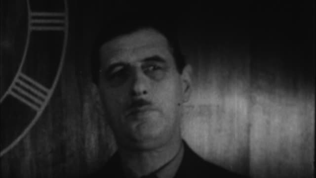 1940s b/w montage portrait of charles de gaulle / france - charles de gaulle stock videos & royalty-free footage