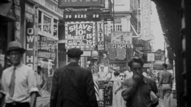 1940s B/W MONTAGE Street scene / New York City, New York, USA