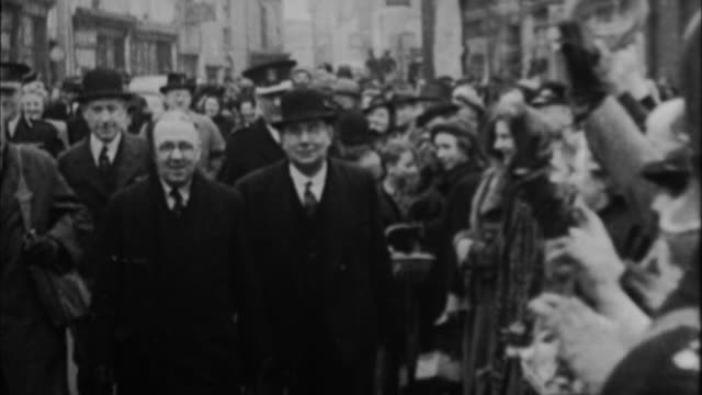 1940s b/w montage winston churchill being greeted by public / united kingdom - winston churchill prime minister stock videos and b-roll footage