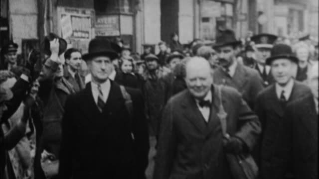 1940s b/w montage winston churchill leaving his office and being greeted by public / united kingdom - prime minister stock videos & royalty-free footage