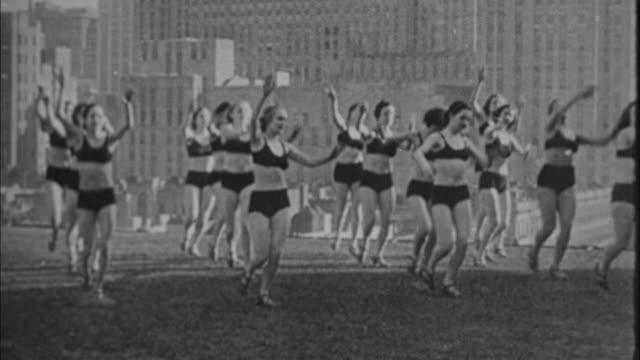 1940s B/W MONTAGE Women dancing on lawn / New York City, New York, USA