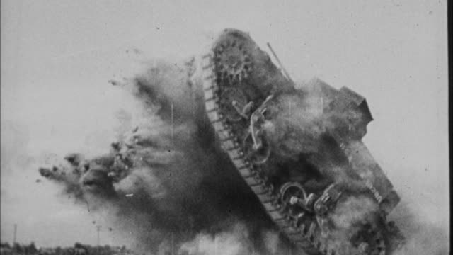 1940s b/w ms tank being driven through training course / united states - 1940 stock videos & royalty-free footage
