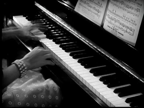 b/w montage 1940s couples dancing, woman playing piano - 1940 stock videos & royalty-free footage