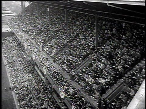 1940s ha crowd cheering on the dodgers at ebbets field / brooklyn new york united states - ebbets field video stock e b–roll