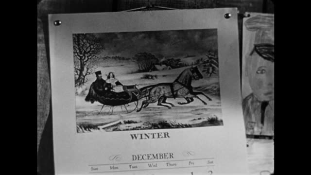 1940s CU December winter wall calendar with horse and sleigh