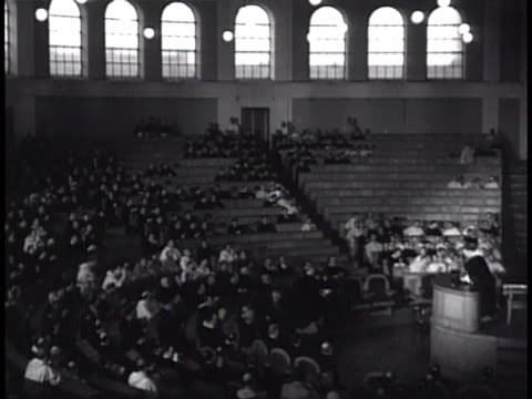order of preachers lecture auditorium, partially filled seats, unidentified male overseeing lecture hall, reading from papers, students in audience,... - theology stock videos & royalty-free footage