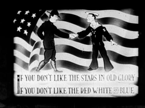 don't bite the hand end of second verse of popular wwi song 'don't bite the hand that's feeding you' singing over two illustrated cartoon frames two... - uncle sam stock videos & royalty-free footage