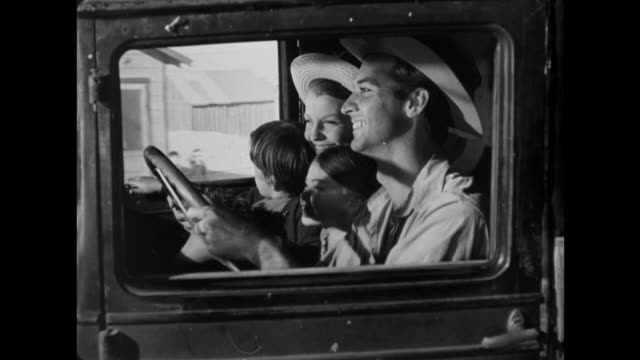 1940s farm family driving in packed truck with hillbilly grandmother in rocking chair in the back - hillbilly stock videos & royalty-free footage