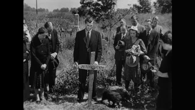 1940s funeral & burial for poor farmer man in rural scene - mourning stock videos & royalty-free footage