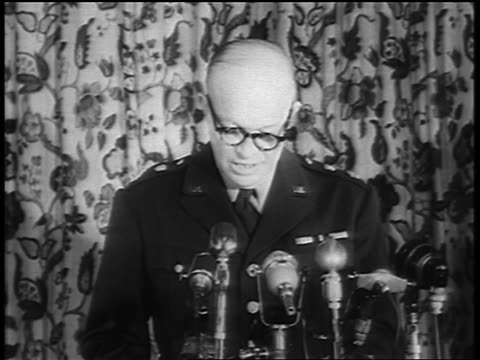 1940s general dwight eisenhower in eyeglasses giving speech about nato into microphones - nato stock videos & royalty-free footage