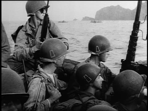 b/w 1940s group of american soldiers riding in landing craft during world war ii - landing craft stock videos & royalty-free footage