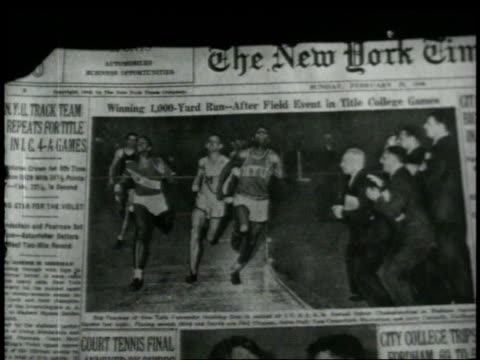 stockvideo's en b-roll-footage met 1940s cu hands piecing together the sunday edition of the new york times / new york city, new york, united states - 1948