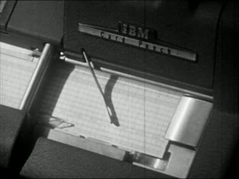 1940s high angle close up pan ibm card punch machine spitting out punch cards - punch card stock videos & royalty-free footage
