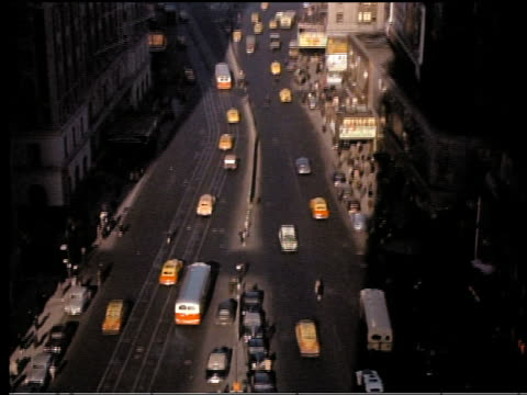 1940s high angle wide shot tilt up times square with traffic / new york city - broadway manhattan stock videos & royalty-free footage