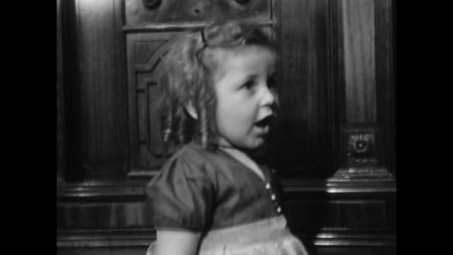 1940s home movie - young girls singing for camera - singing stock videos and b-roll footage