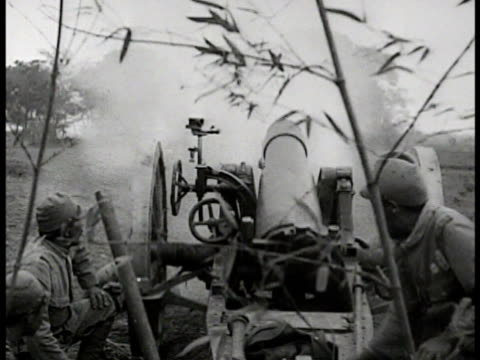 behind soldiers in island vegetation firing artillery. soldier using range finder. vs artillery firing, radioman using radio, shells exploding on... - artillery stock videos & royalty-free footage