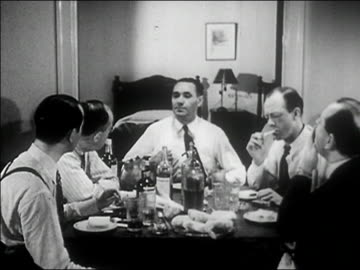 stockvideo's en b-roll-footage met 1940s medium shot mob boss talking and siitting down with men at table/ audio - medium group of people