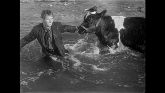 1940s men rescue drowning cow in flood waters at farm - 溺れる点の映像素材/bロール