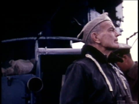 1940s montage admiral halsey and other officers on deck of aircraft carrier - william halsey stock-videos und b-roll-filmmaterial