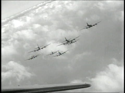 1940s montage b17 flying fortresses in formation flight / european theater of operations - medium group of objects stock videos & royalty-free footage