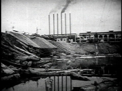 1940s MONTAGE Factories for processing raw materials, such as gold and timber, imported from other countries / Japan