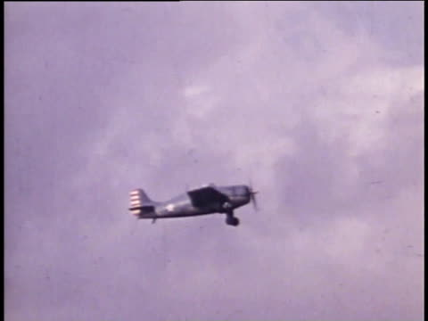 1940s montage fighter plane in air - aircraft carrier stock videos & royalty-free footage