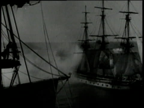 1940s montage hemp being used as rope for sailing ships in battle - militärschiff stock-videos und b-roll-filmmaterial