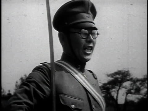 1940s montage japanese soldiers marching and performing rifle drill with instructor / japan - drill instructor stock videos & royalty-free footage