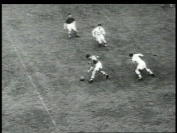 vídeos de stock e filmes b-roll de 1940s montage men playing rugby and fighting / united states - râguebi desporto
