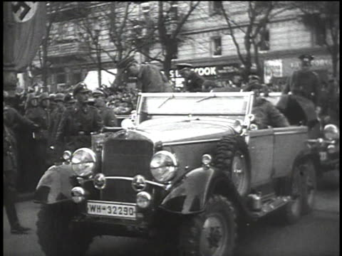 1940s montage nazi troops standing while hitler exiting car and saluting crowd / germany - adolf hitler stock videos & royalty-free footage