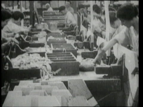 stockvideo's en b-roll-footage met 1940s montage people working in war production plants / united states - tweede wereldoorlog