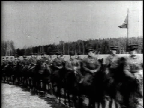 1940s montage russian infantry and cavalry marching in single file / russia - soviet military stock videos & royalty-free footage