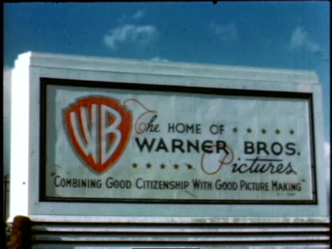 1940s montage warner brothers / hollywood, california, united states - sign stock videos & royalty-free footage
