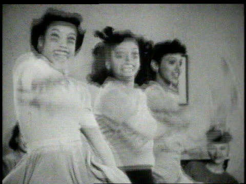 1940s montage women dancing - tanzkunst stock-videos und b-roll-filmmaterial