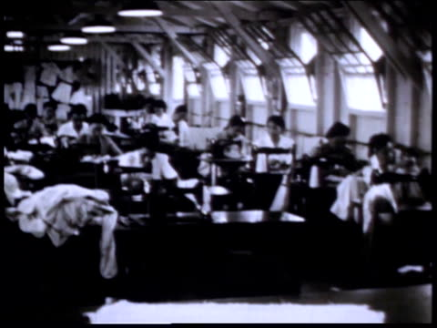 1940s montage women working at sewing machines in alien detention facility / crystal city, texas, united states - undocumented immigrant stock videos & royalty-free footage