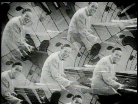 1940s MULTIPLE EXPOSURE Maurice Rocco playing piano and singing