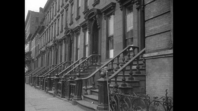 1940s new york city brown stone homes front steps - brick house stock videos & royalty-free footage