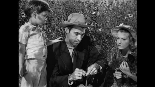 1940s poor farmer family discusses buying land while crouching in a field full of black eyed susan flowers - stereotypical stock videos & royalty-free footage