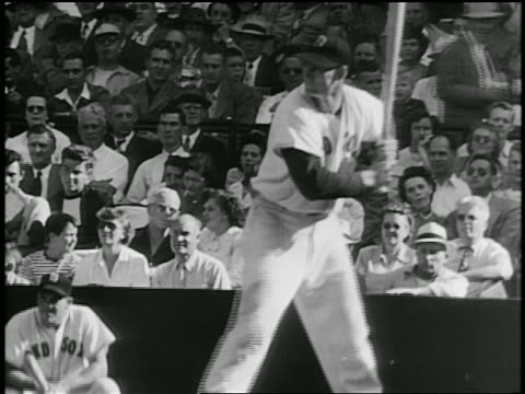 B/W 1940s Ted Williams in Red Sox uniform at bat in baseball game / hits ball runs / documentary