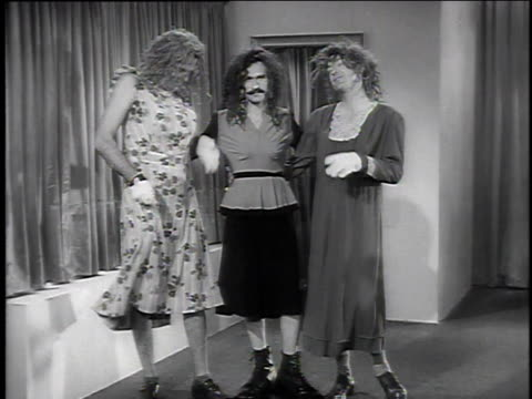 """1940s MS three men in drag performing """"Cocktails for Two"""" / United States"""