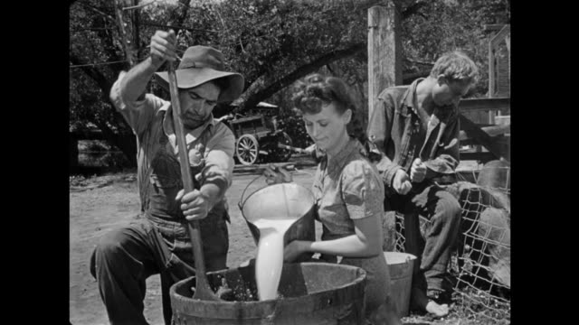 vidéos et rushes de 1940s tightfisted farmer refuses to give desperate father milk for his child - salle de traite