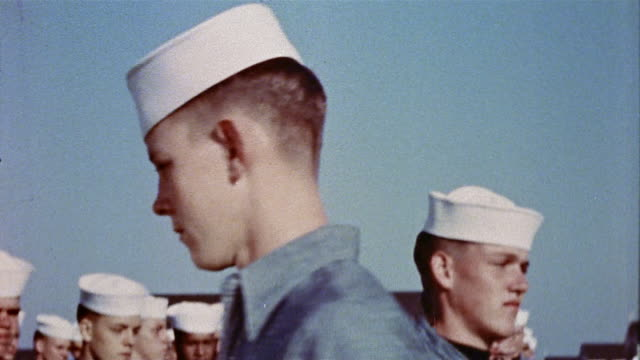 1940s us navy recruit making wrong turn during military drill at naval training center - military recruit stock-videos und b-roll-filmmaterial