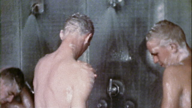 1940s us navy recruits showering in communal shower at naval training center - military training stock videos & royalty-free footage