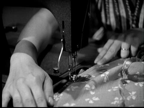 B/W MONTAGE 1940s Woman sewing on sewing machine