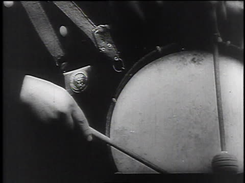 1940s young nazi soldier playing the drum / germany - one teenage boy only stock videos & royalty-free footage