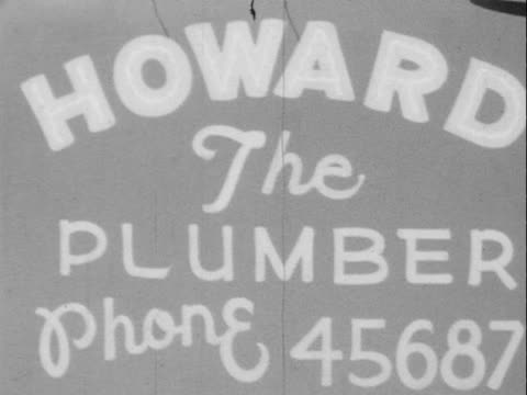 1940s/1950s montage b/w 'howard the plumber' standing beside truck/ greenwood, tulsa, oklahoma, usa - plumber stock videos & royalty-free footage