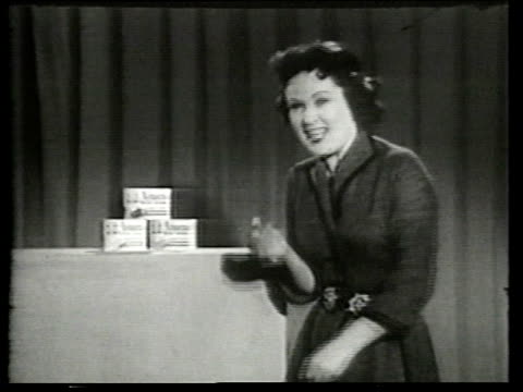 1950s ms amazo instant dessertcommercial - puppet stock videos & royalty-free footage