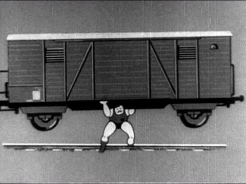 1950s Animation of strongman lifting freight train above his head / AUDIO