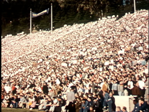 1950s WS, PAN, Audience in California Memorial Stadium, Berkeley, California, USA
